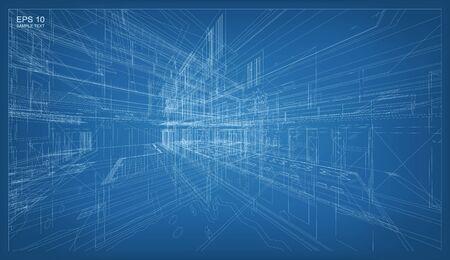 ワイヤー フレームの建物の抽象的な 3 D のレンダリング。建築グラフィックのアイデア。