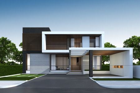 3D rendering of tropical house exterior with clipping path.