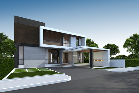3D rendering of tropical house exterior with clipping path. Stockfoto