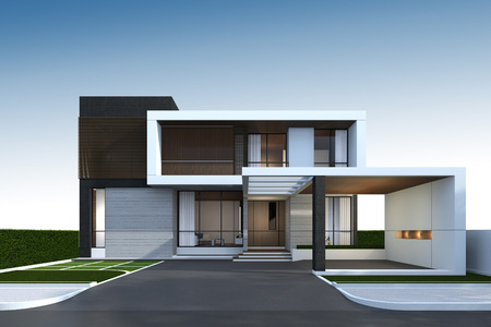 3D rendering of tropical house exterior with clipping path. Banque d'images