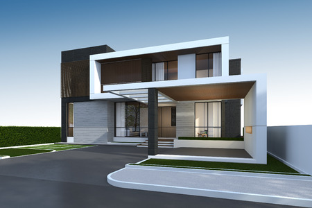 3D rendering of tropical house exterior with clipping path. 版權商用圖片