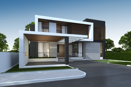 3D rendering of tropical house exterior with clipping path. Foto de archivo