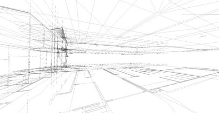 abstract building: Abstract 3D render of building wireframe structure. Construction graphic idea for template design. Stock Photo