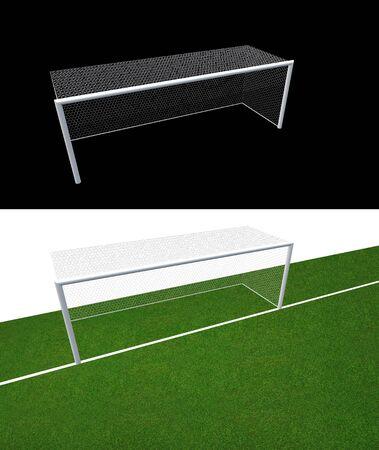 Soccer goal post and soccer net . Soccer goal or football goal for soccer game sport.