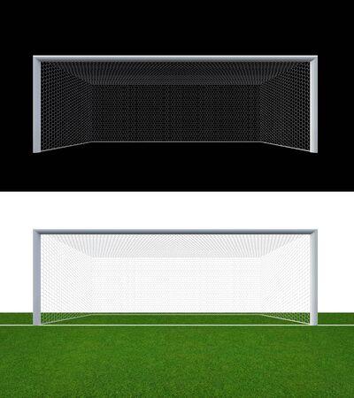 Soccer goal post and soccer net   Soccer goal or football goal for soccer game sport.