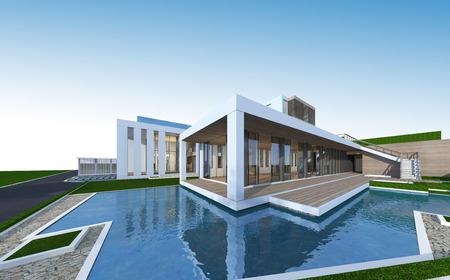 rendering: 3D rendering of tropical house exterior