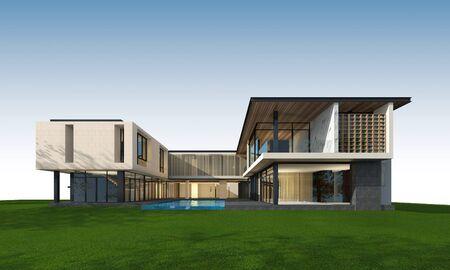 열대 집 외관의 3D 렌더링 스톡 콘텐츠