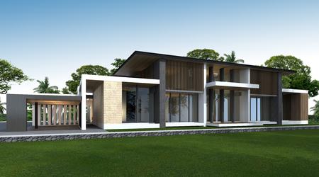 rendering: 3D rendering of tropical house exterior.