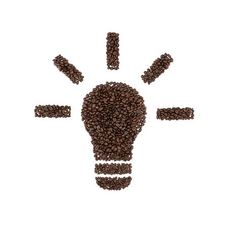 흰색 배경에 고립 된 커피 콩의 전구 상징.