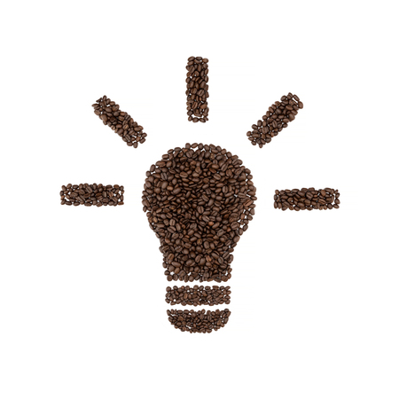 Light bulb symbol of coffee beans isolated on white background. Stockfoto