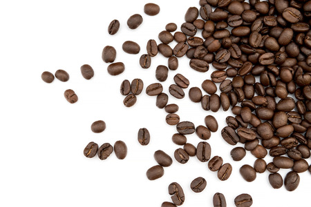 Coffee beans isolated on white background close up.