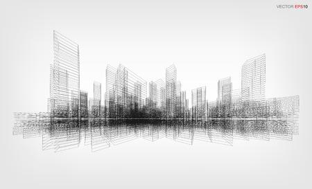 Perspectiva 3D render de la construcción de alambre. Fondo de la ciudad del wireframe del vector de un edificio.