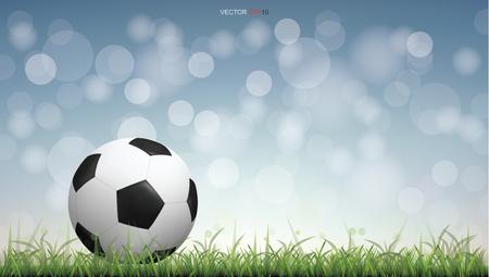 Soccer football ball on green grass field with light blurred bokeh background. Vector illustration idea. Иллюстрация