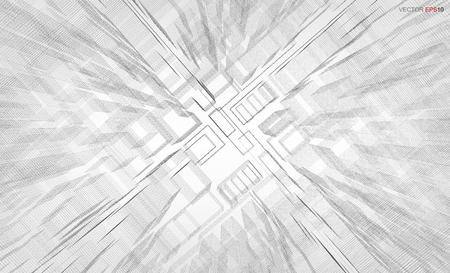 3D 기하학적 와이어 프레임 렌더링의 추상 시각적 확대  축소 배경. 벡터 일러스트 레이 션.