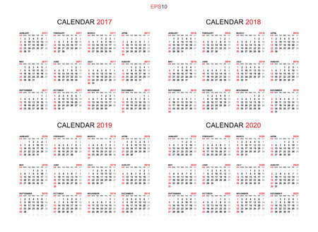 Calendar 2017, 2018, 2019 and 2020 - Calendar background set in simple style for template design. Week starts from Sunday. Vector illustration idea. Illustration