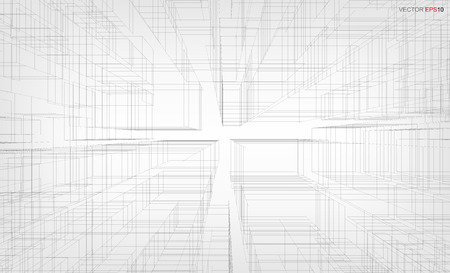 Abstract visual zoom background of 3D geometric wireframe rendering. Vector illustration.