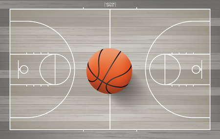 Basketball ball on basketball court background with line court area. Vector illustration.