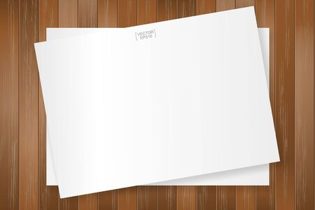 White paper sheet on wood pattern and texture for background. Vector illustration.