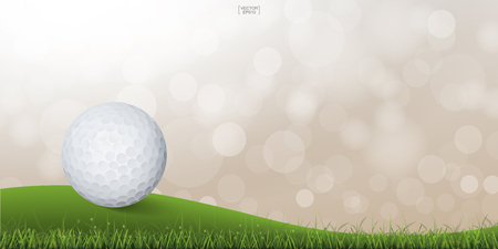 Golf ball on green hill of golf court with light blurred bokeh background. Vector illustration.