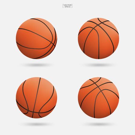 Basketballsatz lokalisiert auf weißem Hintergrund. Vektor-illustration