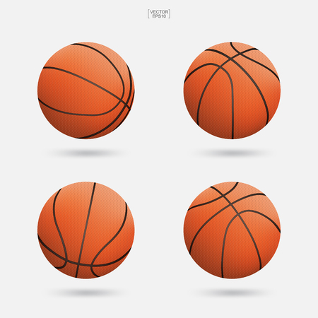 Conjunto de baloncesto aislado sobre fondo blanco. Ilustración vectorial