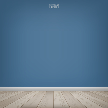 Empty wooden room space and blue concrete wall background. Vector illustration. Stock Illustratie