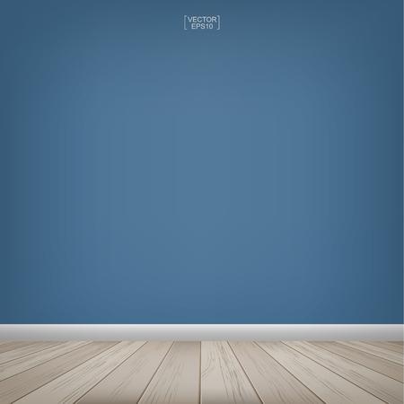 Lege houten ruimte en blauwe betonnen muur achtergrond. Vector illustratie. Vector Illustratie