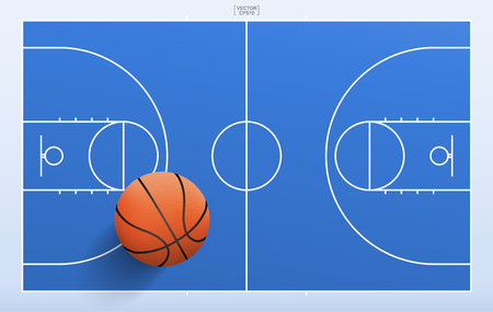 Basketball ball on blue basketball field background with line of court pattern and area. Vector illustration.