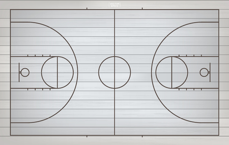 Basketball field for background. Top view of basketball court with line pattern area. Vector illustration. Illustration