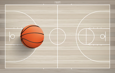 Basketball ball on basketball field background with line court area. Vector illustration.