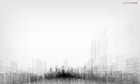 Perspective 3D render of building wireframe. Vector wireframe city background with image of building.