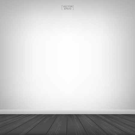 Empty wooden room space and white concrete wall background. Vector illustration. Векторная Иллюстрация