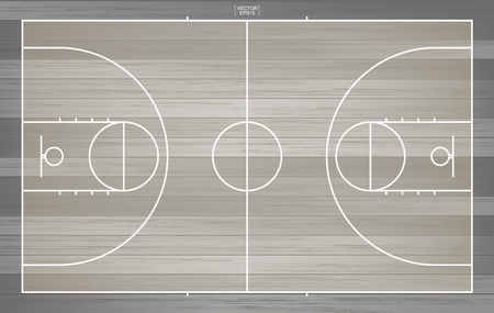 Basketball field for background. Top view of basketball court with line pattern area. Vector illustration. Stock Illustratie