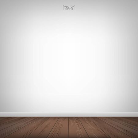 Empty wooden room space and white concrete wall background. Vector illustration.