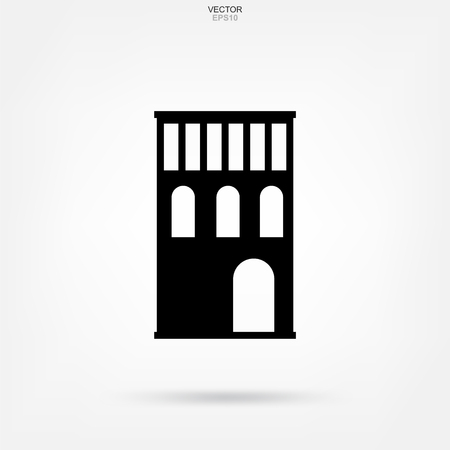 Classic building icon. Abstract architectural sign and symbol. Vector illustration.