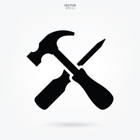 Hammer and screwdriver icon. Craftsman tool sign and symbol. Vector illustration.