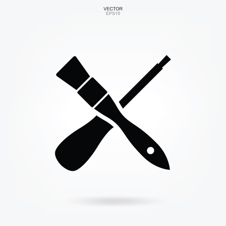 Paint brush and Screwdriver icon. Craftsman tool sign and symbol. Vector illustration. Illustration