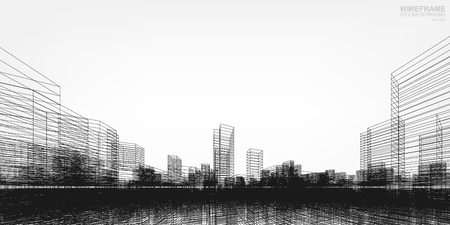 Perspective 3D render of building wireframe. Vector wireframe city background of building.