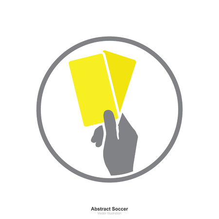 Hand showing yellow card icon on white background. Abstract sign and symbol for soccer sport. Vector illustration.