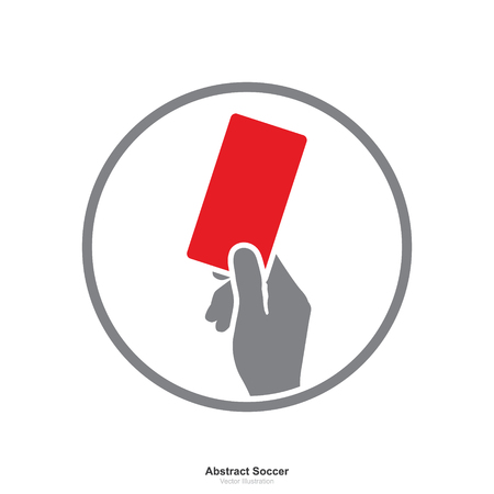 Hand showing red card icon on white background. Abstract sign and symbol for soccer sport. Vector illustration.