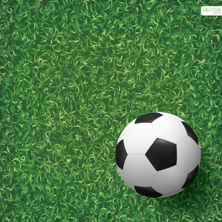 Soccer football ball on green grass of soccer field background. Vector illustration.