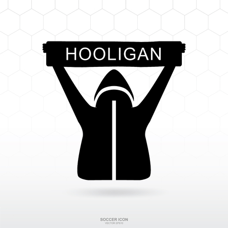 Soccer hooligan icon. Soccer football sport sign and symbol for template design. Vector illustration.