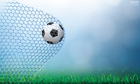 Soccer football ball in soccer goal and net with light blurred bokeh background and green grass field area. Vector illustration.