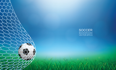 Soccer football ball in soccer goal with green grass field area and light blurred bokeh for background. Vector illustration.