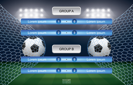 Match schedule of soccer football cup with stadium background. Soccer football tournament schedule. Vector illustration. Иллюстрация