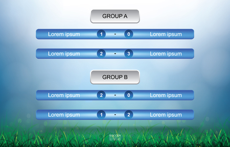 Match schedule background for soccer football cup with green grass field and light blurred bokeh background. Soccer football tournament schedule. Vector illustration. Foto de archivo - 103775693