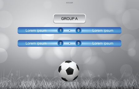 Match schedule background for soccer football cup with soccer ball and grass field background in simple style. Soccer football tournament schedule. Vector illustration.