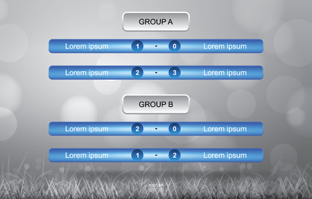 Match schedule background for soccer football cup with grass field background in simple style. Soccer football tournament schedule. Vector illustration.