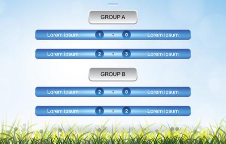 Fondo de calendario de partidos para la copa de fútbol con fondo de campo de hierba verde. Calendario de torneos de fútbol soccer. Ilustración vectorial.