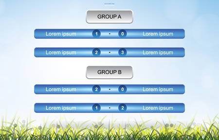 Match schedule background for soccer football cup with green grass field background. Soccer football tournament schedule. Vector illustration.